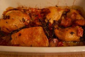 Oven baked chicken with pancetta